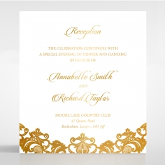 Golden Baroque Pocket with Foil reception wedding invite card