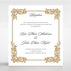 Golden Divine Damask reception enclosure card design
