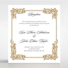 Golden Divine Damask reception enclosure card design
