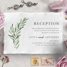 Olive Leaves reception stationery invite card design