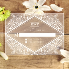 Acrylic Ace of Spades rsvp wedding enclosure design