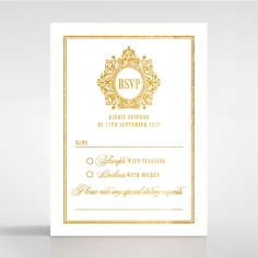 Gold Foil Baroque Gates rsvp wedding enclosure card design