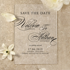 Acrylic Timeless Romance save the date invitation stationery card design