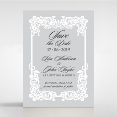 Black Divine Damask wedding save the date stationery card design