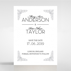 Black on Black Victorian Luxe wedding save the date card design