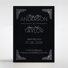 Black on Black Victorian Luxe with foil save the date card design