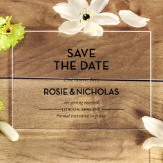 Clear Chic Charm Acrylic wedding save the date stationery card design