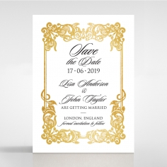 Divine Damask with Foil wedding save the date card design