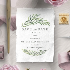 Olive Leaves wedding stationery save the date card