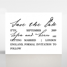 Paper Modern Romance wedding stationery save the date card