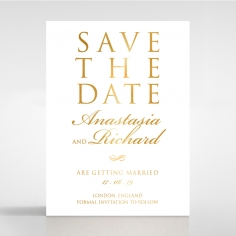 Quilted Letterpress Elegance with foil save the date invitation stationery card