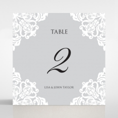 Black Divine Damask table number card stationery