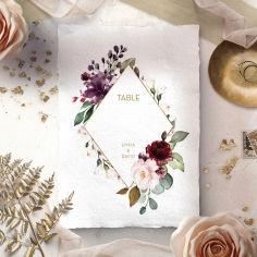 Contemporary Love wedding table number card design