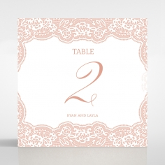 Floral Lace with Foil reception table number card stationery item