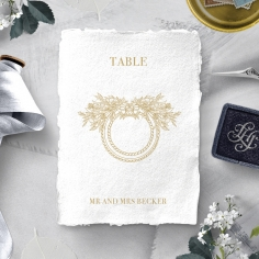 Heritage of Love wedding reception table number card stationery