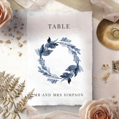 Indigo Round table number card stationery