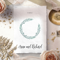 Modern Garland wedding table number card