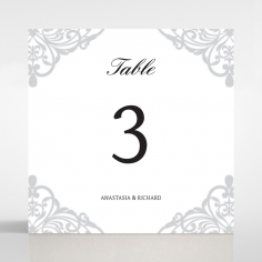 Modern Vintage wedding reception table number card design
