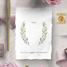 Olive Leaves reception table number card stationery item