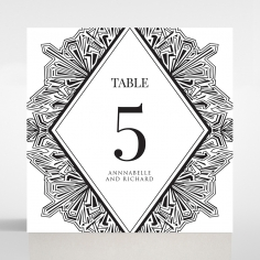 Paper Diamond Drapery wedding stationery table number card design