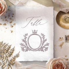 Royal Crest table number card