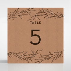 Rustic Oriental wedding reception table number card design