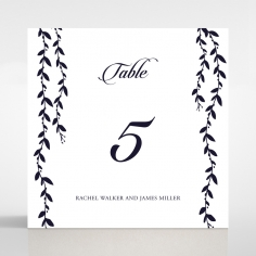 Unbroken Romance table number card design