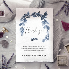 Blue Forest wedding stationery thank you card design