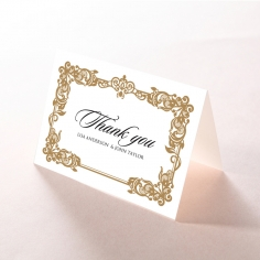 Golden Divine Damask thank you stationery card design