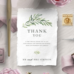 Olive Leaves wedding thank you card