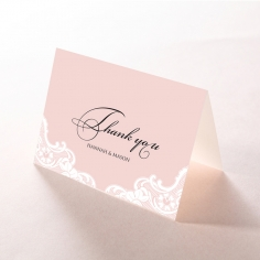 White Lace Drop wedding stationery thank you card