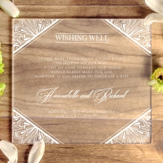 Acrylic Ace of Spades wedding gift registry invitation card design