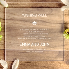 Acrylic Gilded Decadence wedding gift registry card