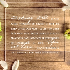 Acrylic Modern Romance gift registry stationery card