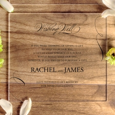 Acrylic Polished Affair wedding gift registry card design