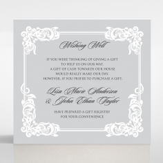 Black Divine Damask wedding stationery wishing well enclosure card