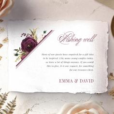 Burgandy Rose wishing well enclosure invite card design