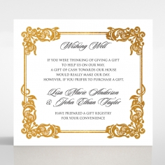 Divine Damask with Foil wedding stationery wishing well invite card