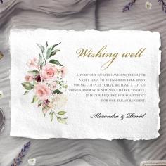 Geometric Bloom wedding wishing well enclosure card