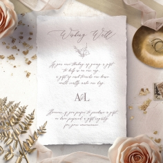 Royal Crest wishing well wedding card