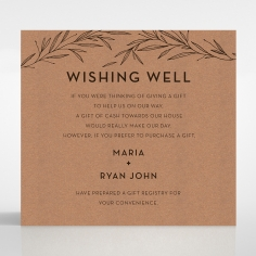Rustic Oriental wishing well enclosure invite card
