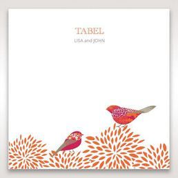 Red Love Birds - Table Number Cards - Wedding Stationery - 77