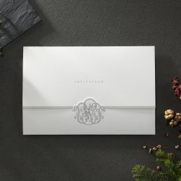 Classic trifold card with a lightly textured insert card printed in high rise fonts attached to an elegant white card with silver foiled letter and monogram in hot foil stamp