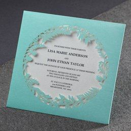 Silk screened teal coloured pocket with leaf patterned die cut details surrounding the cutout center, revealing the main invite in pearlised paper