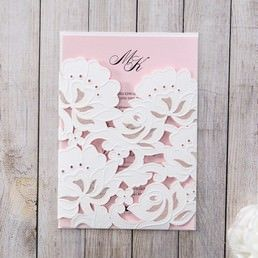 Classic matte white card with a delicately made die cut floral pocket with embossed details enclosing a light pink insert card in customisable colours