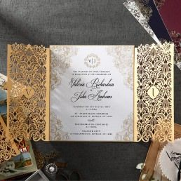 Pearlised card with golden borders printed in high rise fonts encased in a luxurious gold laser cut pocket, in a complimentary pearlised envelope with golden lining