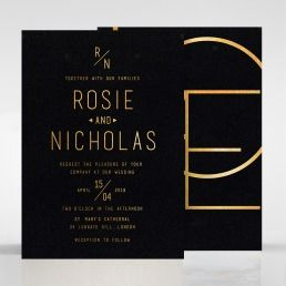 Dazzling matte black card foil stamped, with golden foiled script backing