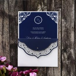 Stunning luminous white inner card with navy blue floral borders inserted in a pocket with outer envelope adorned with navy blue laser cut brim