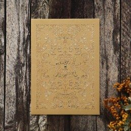 Stunning pearlised inner card with elegant golden border highlighting the couple's initials, enclosed in a shimmering gold pocket with vintage themed die cut pattern