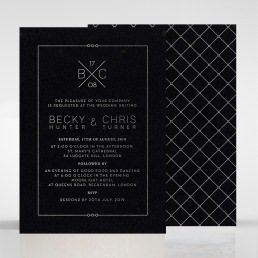 Gorgeous black card hot foil stamped in silver, with criss-cross patterned backing